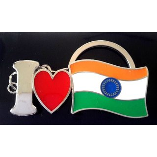Indian Mind- I LOVE INDIA Tricolor High Quality Stainless Steel Key Chain