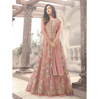 Latest Fancy Party Wear Net Embroidered Anarkali Salwar Suit Gown