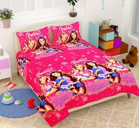 craftwell barbie 3d printed bedsheet with 2 Pillow cover