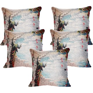 Vinayaka Multicolor New Peacock  Sea Design Jute Fabric Cushion Covers 16 X 16 (Set Of 5)