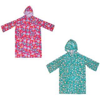 Pari Prince Raincoat Assorted Multicolour Floral Prints For Kids (Pack of 2)