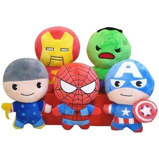 Set of 5 Avengers Iron Man Thor Hulk Captain America Spiderman Miniature Soft toys Plush stuffed Toys - 3 cm