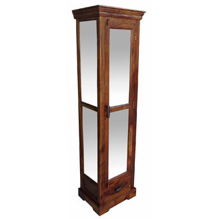 Shubham Arts Brown Color Wooden & Glass Door Cabinet With 1 Drawer