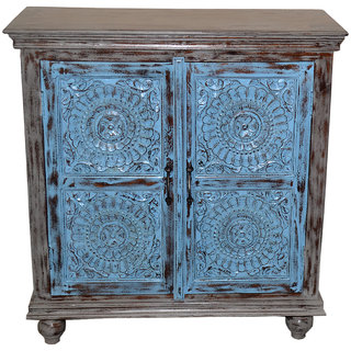Shubham Arts Multicolor Wooden Carved Cabinet With 2 Door
