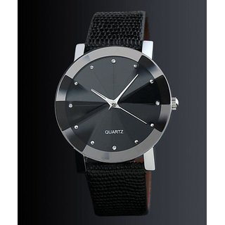 ITHANO UNIQUE CRYSTAL DESIGN WOMEN WRIST WATCH - BLACK
