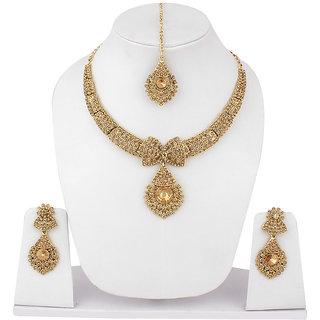 Jewels Guru Exclusive Golden Necklace Set.M-599