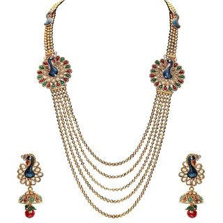 Jewels Gold Alloy Antique Traditional Necklace Set