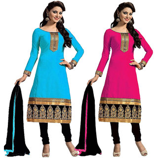 Beelee Typs Blue  Pink Cotton Embroidered Salwar Suit Material (Unstitched)