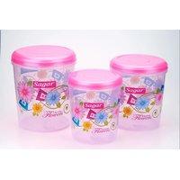 Sagar Airtight Plastic Containers Set of 3 PCS (10 Ltr, 7 Ltr, 4 Ltr ) Pink