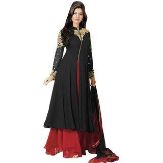 Utsav Designer Black Georgette Anarkali Dress Material Top Bottom Dupatta