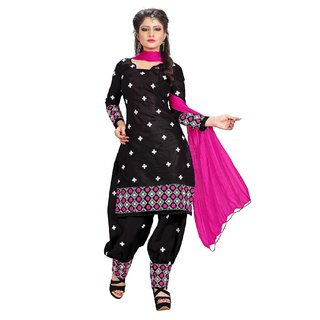 Utsav Designer Black Cotton Patiyala Dress Material Top Bottom Dupatta