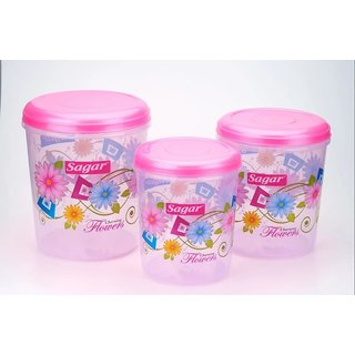 Sagar Airtight Plastic Containers Set of 3 PCS (10 Ltr 7 Ltr 4 Ltr ) Pink