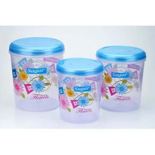 Sagar Airtight Plastic Containers Set of 3 PCS (10 Ltr 7 Ltr 4 Ltr ) Blue