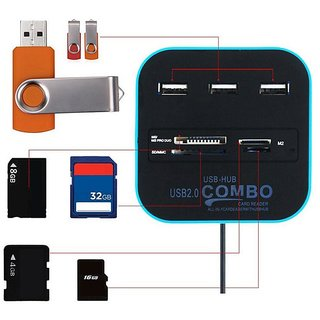 durReey Multi-card Reader with 3-port USB 2.0 Hub Combo for SD/MMC/M2/MS Memory Card Blue