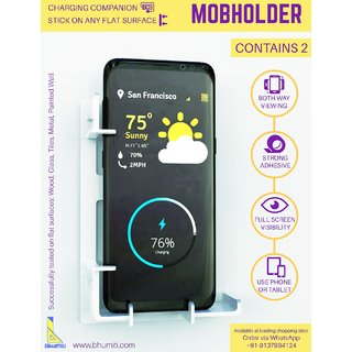 Bhumiti Mobholder- Surface mount mobile holder for refrigerator/walls/glass/wood/tiles, etc Each box contains 2 pieces.