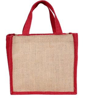 Indha Brown Colour Lamented Jute Gift Lunch/Tiffin Carry Bag