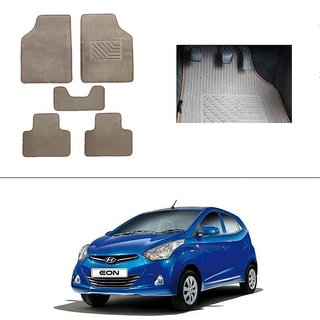 KunjZone Best Quality Set of 5 Carpet Beige Car Foot Mat / Car Floor Mat for Hyundai Eon