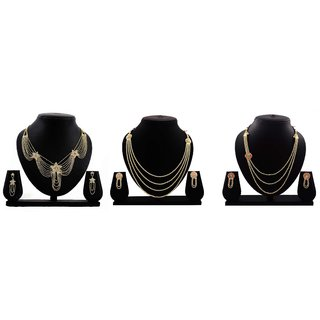 Dealseven Fashion Presents Golden Color Alloy Set Of 3 Neckless Set.