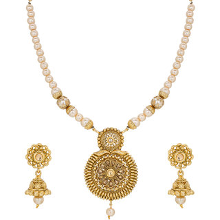 The Luxor Round Shape Classic Pearl Gold Plated Necklace Set