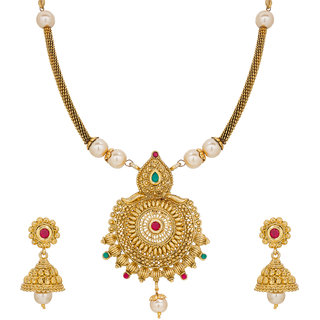 The Luxor Round Shape Pretty Pearl Gold Plated Necklace Set