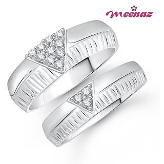 Amaal Ring Jewellery Set bo Silver Plated Cz In American Diamond For Women And Girls  Com020618