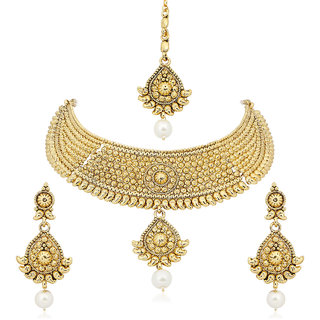 Amaal Traditional Necklace Sets Jewellery Sets Gold Plated With Earrings For WomenGirlsNL0126