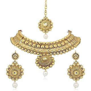 Amaal Traditional Necklace Sets Jewellery Sets Gold Plated With Earrings For WomenGirlsNL0128