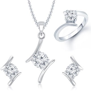 Meenaz Pendant Set bo Silver  Plated CZ With American Diamond For Girls  Women  - Com23514