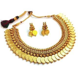 Awww Pearl Traditional Temple coin Necklace Set / Jewellery Set with Earrings for Women