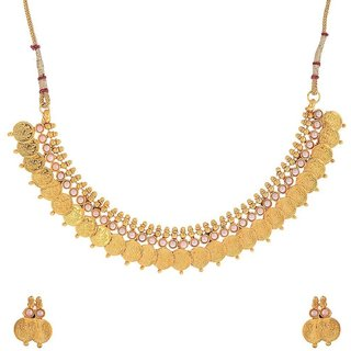 Awww White Pearl Gold Plated Necklace set / Jewellery Set with Earrings For Women