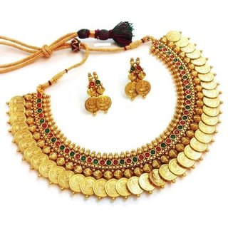 Awww Red  Green Temple coin Choker Jewellery set / Necklace Set for Women