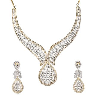 9Blings Party Wear Gorgeous Look American Diamond Gold Plated Necklace Set