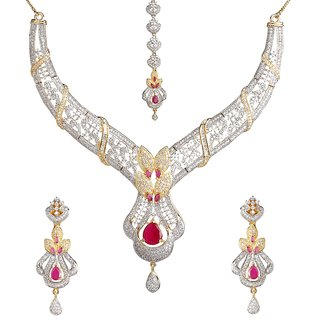 9Blings Bollywood Style Princess Cute American Diamond Gold Plated Necklace Set