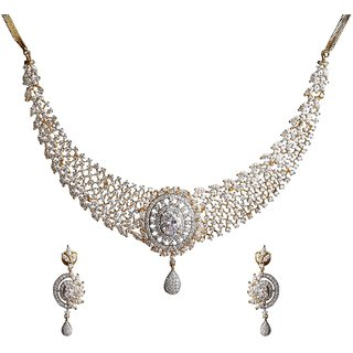 9Blings Party Wear Filigree American Diamond Gold Plated Necklace Set