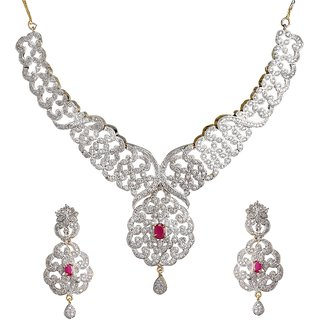 9Blings Bollywood Style Princess Cute American Diamond Ruby Gold Plated Necklace Set