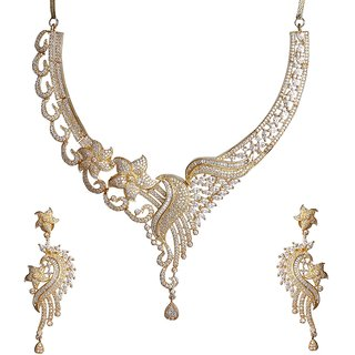 9Blings Bridal Collection Antique Design American Diamond Gold Plated Necklace Set