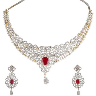 9Blings Latest Design Filigree American Diamond Ruby Gold Plated Necklace Set