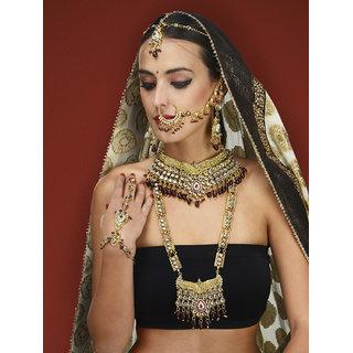 Mehroon Kundan Bridal set by the Pari