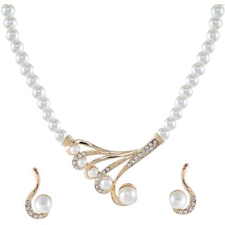 9blings Antique Design Pearl Cubic Zirconia Gold Plated Necklace Set