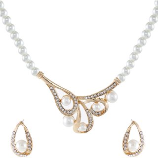 9blings Latest Pearl Cubic Zirconia Gold Plated Necklace Set