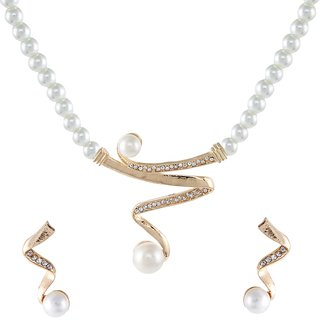 9blings Party Wear Cubic Zirconia Pearl Gold Plated Necklace Set