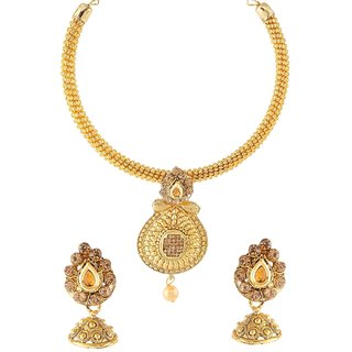 9blings Bridal Collection Champagne Pearl Gold Plated Necklace Set