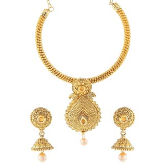 9blings Bollywood Style Champagne Pearl Gold Plated Necklace Set