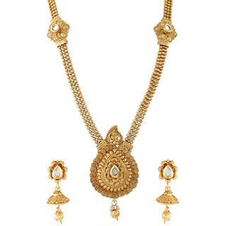 9blings Jodha Style Kundan Gold Plated Long Nacklace Set