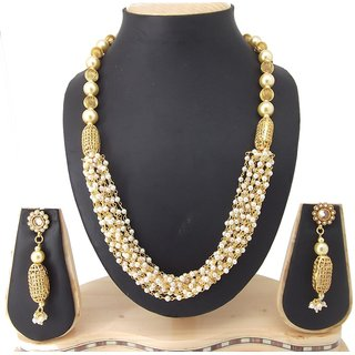 9blings Gorgeous Look Pearl Cubic Zirconia Gold Plated Copper Necklace Set