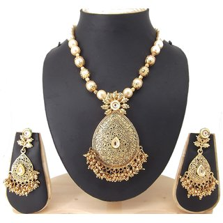 9blings Antique Colletion Filigree Work Small Gold Beads Pearl Kundan Gold Plated Necklace Set