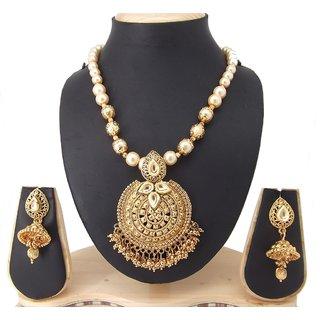 9blings Ravishing Design Kundan Pearl Gold Plated Copper Necklace Set