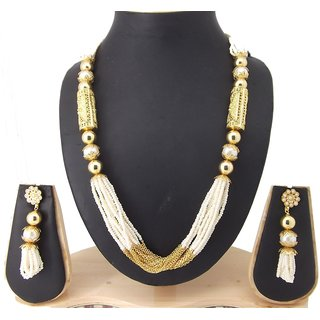 9blings Bollywood Style Pearl Gold Plated Copper Necklace Set