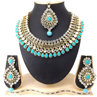 9blings Bridal Colletion Filigree Work Kundan Cubic Zirconia Gold Plated Necklace Set