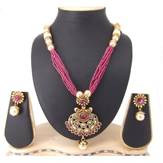 9blings Party Wear Pink Revers Ad Pearl Gold Plated Copper Necklace Set
